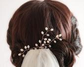 bridal hair pin, real pearl, freshwater, hair vine style leaf bud pearls, gold, silver, rose gold,