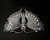 Antique Vintage Design Silver Ornate Crystal Butterfly Hair Comb Bridal Wedding Evening Drees
