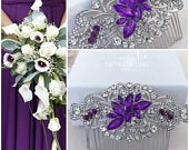 Bridal hair piece, Purple crystal hair comb for wedding, Bridesmaids Rhinestone Hair accessories, Silver headpiece, Party or Prom Comb
