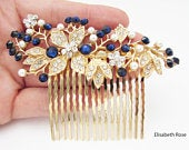 Dark Blue Wedding Hair Comb, Indigo Blue and Gold Crystal Hair Comb for Bride, Dark Navy Blue Colour Hair Comb, Navy Wedding Hair Comb