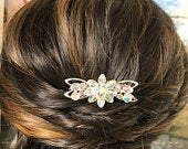 Floral Wedding Hair Accessory, Vintage Hair Comb, Silver Crystal Bridal Hair Accessories, Flower Wedding Hair Jewelry, Floral Hair Clip