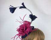 Dark Navy Blue and Pink Fascinator Navy and Fuchsia Fascinator Blue and Pink Hatinator Wedding Formal Hat Ladies Day Ascot Races