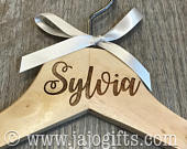 Personalised engraved dress coat hangers for wedding party bride maid of honour bridesmaid large name