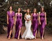 Multiway Purple Bridesmaid Dress Long Silk Infinity Prom Wrap Transformer Unique Gift for Her Ladies Plus Size Sexy Satin Wedding Gown