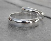 Wedding band set, Sterling silver, his and hers, wedding rings, 6mm and 4mm wide, domed wedding ring, highly polished
