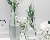 Vintage Milk Bottle Clear Recycled Glass Eco Bud Vase Wedding Table Centrepiece Home Decor Assorted