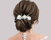 Wedding Hair Comb, Floral Hair Comb, Bridal Headpiece, Rose Hair Comb, Tiaras For Weddings