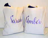 Bridesmaids gifts, bridal party gift, Personalised wedding favor bags, personalised tote, thank you gift tote bag