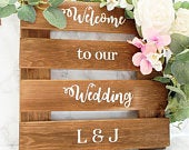 Floral Wooden Welcome to our Wedding Sign Rustic Wood Personalised Wedding Sign Stained Wooden Sign