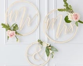 Wooden Hoop Wreath Mr Mrs, Mr and Mrs Signs, Wooden Wedding Decorations, Rustic Wedding Decor, Wedding Decoration Hoops, Chair Signs