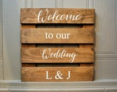 Wood Welcome To Our Wedding Sign Stained Wood Wedding Sign Rustic Wedding Sign Personalised Wedding Decor Wedding Gift