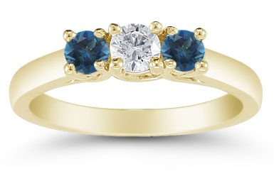 Three Stone Diamond and London Blue Topaz Ring, 14K Gold