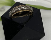 White Sapphire Silver and Gold Plate Wedding Band. Wedding Band Ring.