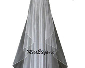 Bridal Veil 1 tier Wedding veil, WHITE Satin Ribbon edge 3mm, 5mm or 10mm Veil.Available in Shoulder 23inches to Cathedral 108 Inch Length