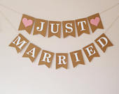 Wedding decor Just married bunting banner sign