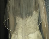 Ivory veil Diamante Rhinestone edged wedding veil 2 tiers. Chapel 30/108Various lengths colours and widths to choose from. FREE UK POSTAGE