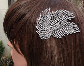 Feather HairComb: Vintage Feather Diamante Bridal Costume Comb