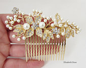 Decorative Gold Wedding Hair Comb, Crystal and Pearl Hair Comb for Wedding, Gold Bridal Hair Comb, Wedding Day Hair Comb, Gold Hair Jewelry