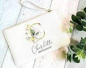 Personalised Printed Bridesmaid Pouch, White and Gold Monogram Bridal Pouch, Bridesmaid Gift Pouch, Clutch Bag, Pink Pouch, Hen Party Gifts