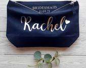 Will You Be My Bridesmaid Gift, Personalised Cosmetic Bag, Maid of Honour Make Up Bag, Bride Clutch Bag, Bridesmaid Proposal Gift, Bridal