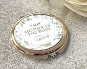 Personalised MOTHER of the BRIDE compact mirror wedding gift, rose gold floral handbag mirror RGRL1