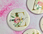 Initial Personalised Pocket Mirror 58mm in size. handheld mirror, Compact mirror, christmas gift stocking filler, Secret Santa Gift