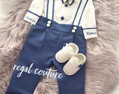 Baby Boys blue suit, boys 1st birthday suit, boys wedding suit, coming home suit, personalised boys clothes,