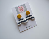Polymer Clay Earrings Navy White Arch With Mustard Top