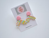 Polymer Clay Earrings Pastel Marbled Rainbow Arch