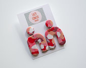 Polymer Clay Earrings Pink Mosaic Style Wonky Arch