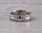 Very dressy 18ct gold band, two full set rows of round diamonds, ideal as wedding band, dress ring, eternity ring
