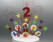 Teletubbies Glitter Cake Topper Spray Cake Decoration Birthday 1st 2nd 3rd 4th 5th 6th 7th any age Stars on Wires any theme Personalised 001