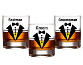 Groom Wedding Party Decals // Bow Tie Groomsman Decals // Beer Whiskey Glass Groom Decal // Bachelor Party Decal // Best Man, Grooms Gift
