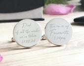 Personalised Engraved Father of the Bride Cufflinks Dad of all the walks Wedding Cufflinks Personalized Cufflinks