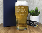 Personalised engraved FATHER of the BRIDE pint beer glass wedding gift idea, gift boxed PGWED1