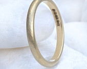 Slim Hammered Wedding Ring 18k Yellow, White or Rose Gold Eco Friendly Handmade to Order
