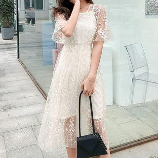 Short-Sleeve A-Line Midi Lace Dress
