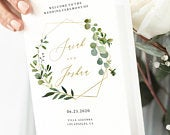 Greenery and Gold Wedding Program Template, Folded Booklet, Modern and Rustic Ceremony, Try Before You Buy with Corjl 060
