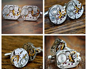 Steampunk Watch Cufflinks, Watch Movement Cufflinks, Groomsmen Gifts, Mens Cufflinks, 42nd Clock Wedding Anniversary, Watch Gift Groomsmens