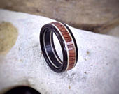 Wood Ring Mahogany Burr, Sycamore Ebony Made to order All US and UK Ring Sizes