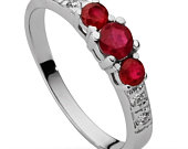 VIDEO ! Engagement Anniversary Ring 100% 3x Rubies VS 4 Diamonds 1,8 mm, in White 14k Gold
