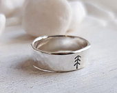 Silver Hammered Ring Sterling Silver Pine Tree Ring Wide Band Ring Chunky Hammered Silver Ring Hiking Ring Women/Mens Ring 925