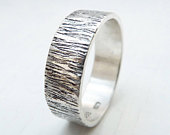 Sterling silver wedding band, Sterling silver wedding ring, Womans wedding band, Mens wedding band, Silver bark texture ring. 6mm sterling