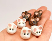Cute Ceramic Mice/Mouse, small/litte cake toppers, Cheese Cake/Board Decorations, white/brown, UK studio pottery, artisan, In Stock