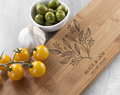 Personalised Wedding Anniversary Bamboo Serving Board, 5th Anniversary, Cutting Board, Eco Friendly, Sustainable, Gifts for Couples