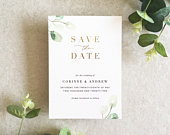 Corinne Greenery Save the Date Cards Foil Save the Date Invitation Botanical Save the Date Rustic Save the Date Gold Save the Date