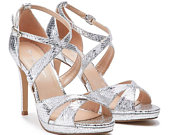 BNWB Paradox London Levi Silver High Heel Platform Cross Strap Sandal UK 3 /EU 36
