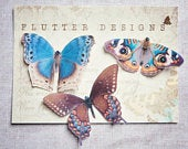 Butterfly Hair Clips, handmade from Silk with sparkling Swarovski Crystals Multi Colours