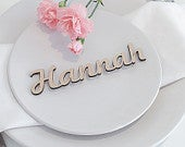 Wedding Place Cards, Wooden Place Names, Laser Cut Names, Wood Wedding Favors, Personalised Rustic Elegant Table Names Settings Gold Silver
