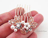 Small Rose Gold and White Pearl Hair Pin, Rose Gold Hair Comb for Wedding, Bridal Pearl Hair Comb, Small Rose Gold Hair Pins for Bridemaids